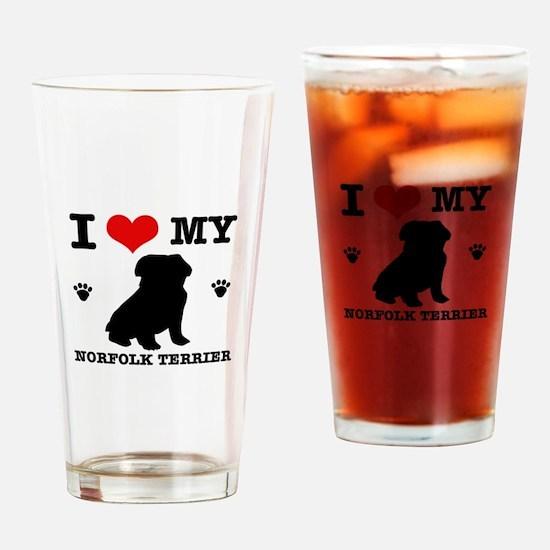 I Love My Norfolk Terrier Drinking Glass