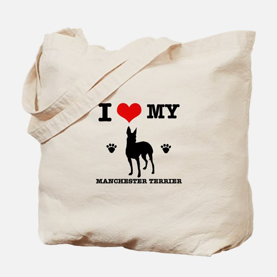 I Love My Manchester Terrier Tote Bag