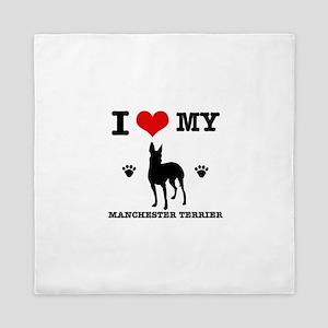 I Love My Manchester Terrier Queen Duvet