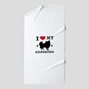 I Love My Keeshond Beach Towel