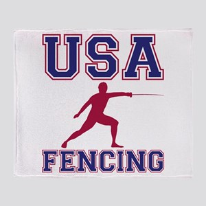 USA Fencing Throw Blanket