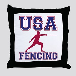 USA Fencing Throw Pillow