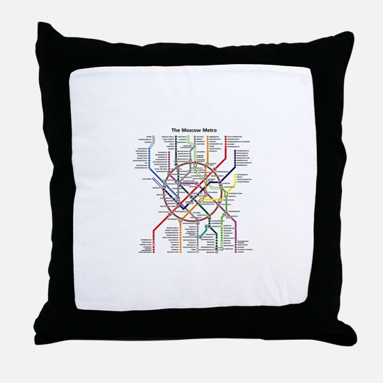 METRO MAPS - MOSCOW - RUSSIA. Throw Pillow