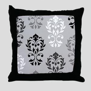 Heart Damask Art I Bwg Throw Pillow