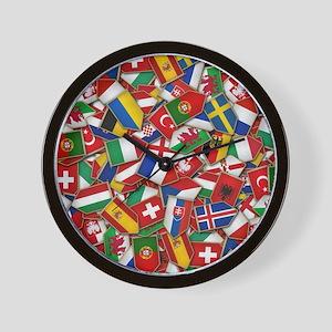 European Soccer Nations Flags Wall Clock