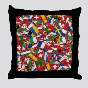 European Soccer Nations Flags Throw Pillow