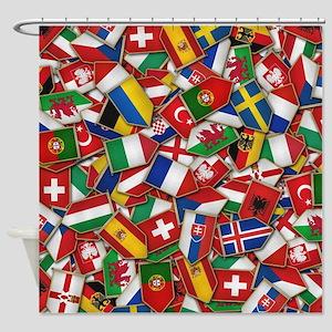 European Soccer Nations Flags Shower Curtain