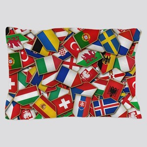 European Soccer Nations Flags Pillow Case