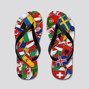 European Soccer Nations Flags Flip Flops