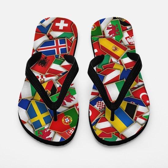 European Soccer Nations Flags Flip Flops