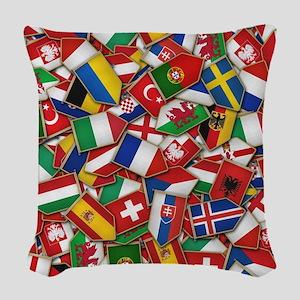 European Soccer Nations Flags Woven Throw Pillow