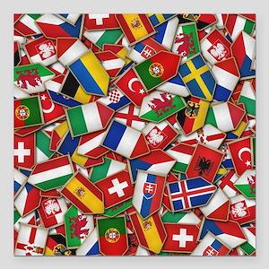 "European Soccer Nations Square Car Magnet 3"" x 3"""