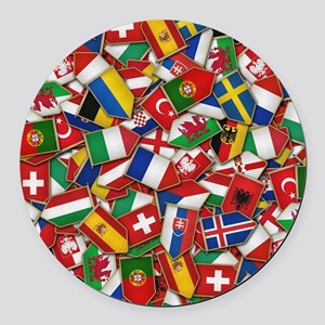 European Soccer Nations Flags Round Car Magnet