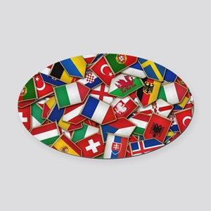 European Soccer Nations Flags Oval Car Magnet
