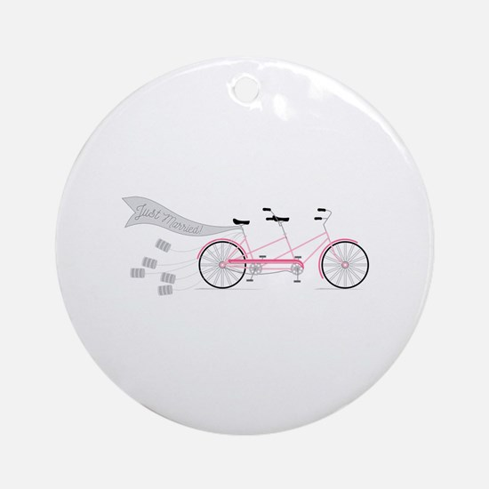 Just Married Bike Round Ornament