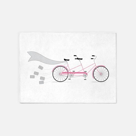 Wedding Tandem Bike 5'x7'Area Rug