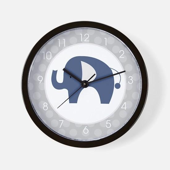 Navy Blue Elephant with Gray Wall Clock Wall Clock