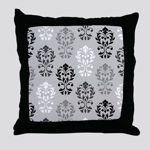 Heart Damask Art I Ptn BWG Throw Pillow