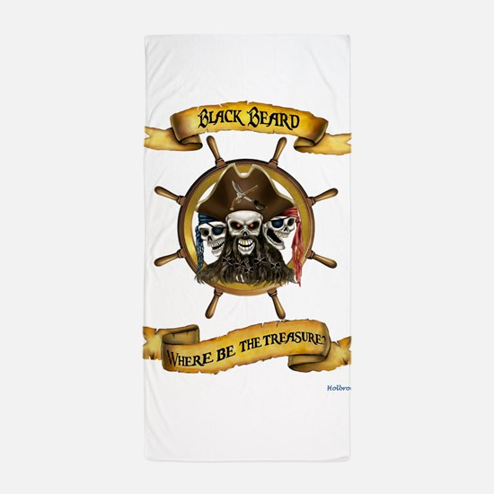 Blackbeard Where be the Treasure Beach Towel