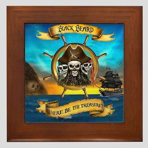 Blackbeard Where be the Treasure Framed Tile
