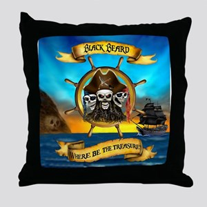 Blackbeard Where be the Treasure Throw Pillow