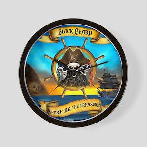 Blackbeard Where be the Treasure Wall Clock