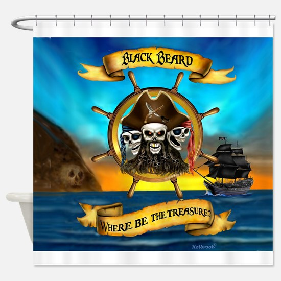 Blackbeard Where be the Treasure Shower Curtain