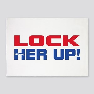HILLARY LOCK HER UP 5'x7'Area Rug