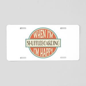 happy shuffleboarder Aluminum License Plate
