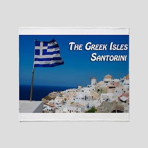 The Greek Isles Santorini Throw Blanket