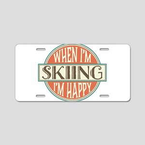 happy skier Aluminum License Plate