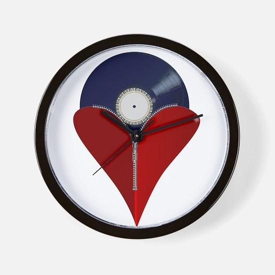 Love Music Zipper Heart Wall Clock
