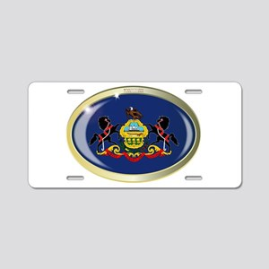 Pennsylvania State Flag Ova Aluminum License Plate