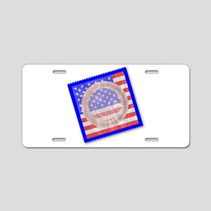 Stars And Stripes Condom Aluminum License Plate