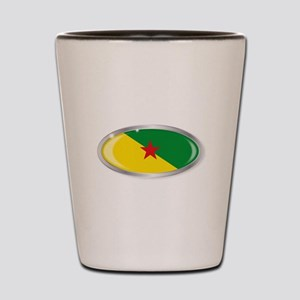 French Guiana Flag Oval Button Shot Glass