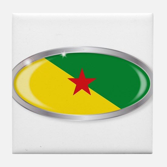 French Guiana Flag Oval Button Tile Coaster
