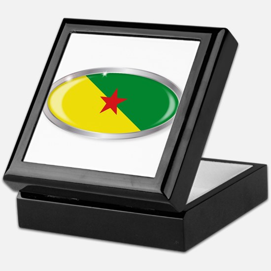 French Guiana Flag Oval Button Keepsake Box