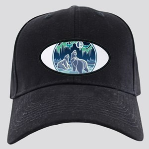 Native Bear Art Black Cap with Patch