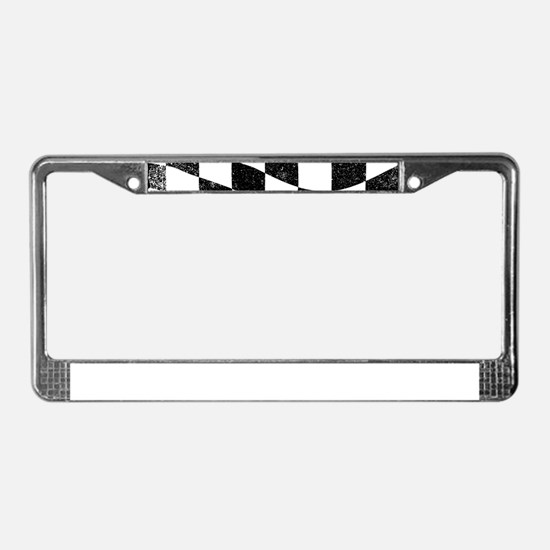 Grunged Chequered Flag License Plate Frame