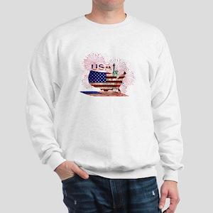 USA FIREWORKS STARS STRIPES LADY LIBERT Sweatshirt
