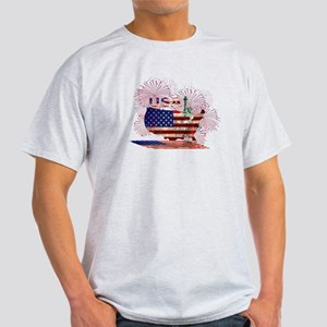 USA FIREWORKS STARS STRIPES LADY LIBERTY T-Shirt