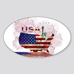 USA FIREWORKS STARS STRIPES LADY LIBERTY Sticker