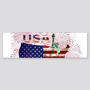USA FIREWORKS STARS STRIPES LADY LI Bumper Sticker
