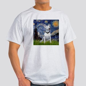 Starry Night & Bull Terrier Ash Grey T-Shirt