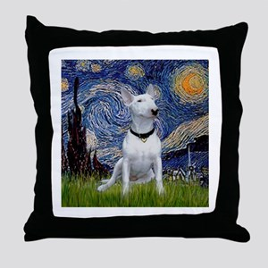 Starry Night & Bull Terrier Throw Pillow