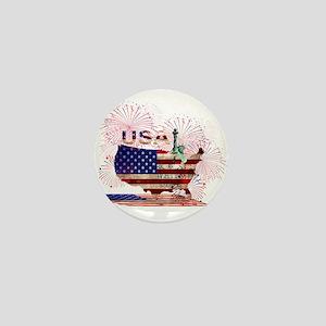 USA FIREWORKS STARS STRIPES LADY LIBER Mini Button