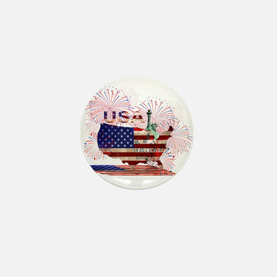 USA FIREWORKS STARS STRIPES LADY LIBER Mini Button