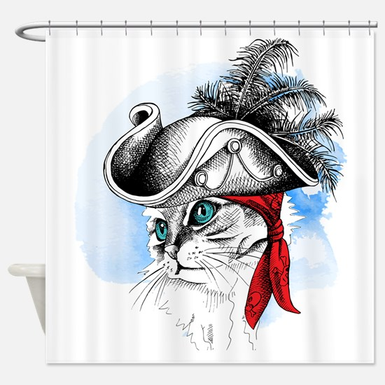 Pirate Kitty Shower Curtain