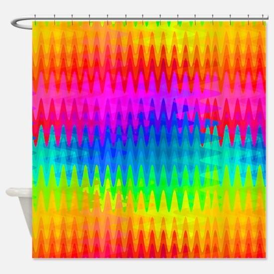 Rainbow Color Waves Shower Curtain