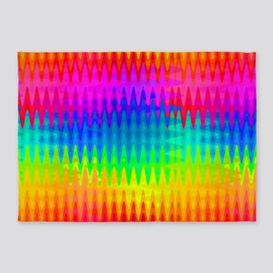 Rainbow Color Waves 5'x7'Area Rug